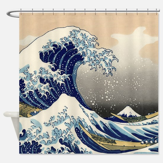 Japanese Woodcut Great Wave Mount Fuji Shower Curt