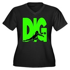 DIG VB Women's Plus Size V-Neck Dark T-Shirt