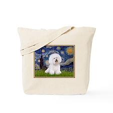 Starry Night & Bichon Frise Tote Bag