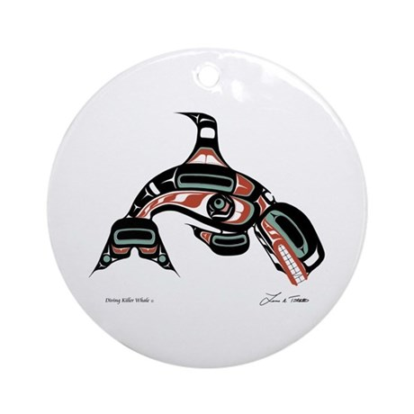 Diving Killer Whale Ornament (Round)
