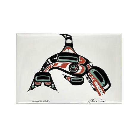 Diving Killer Whale Rectangle Magnet (100 pack)