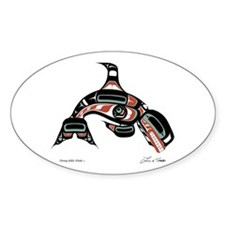 Diving Killer Whale Oval Decal