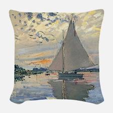 Monet Sailboat French Impressionist Woven Throw Pi
