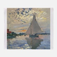 Monet Sailboat French Impressionist Throw Blanket