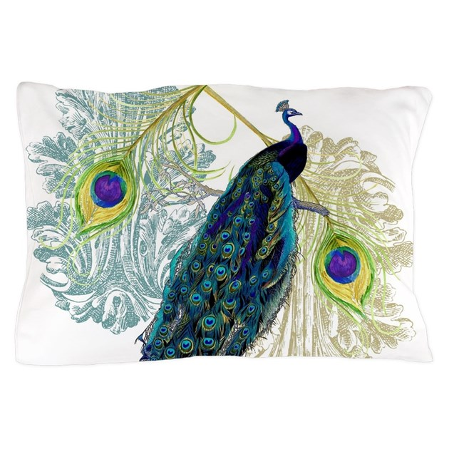 Vintage Peacock Bird Feathers Etchings Pillow Case By