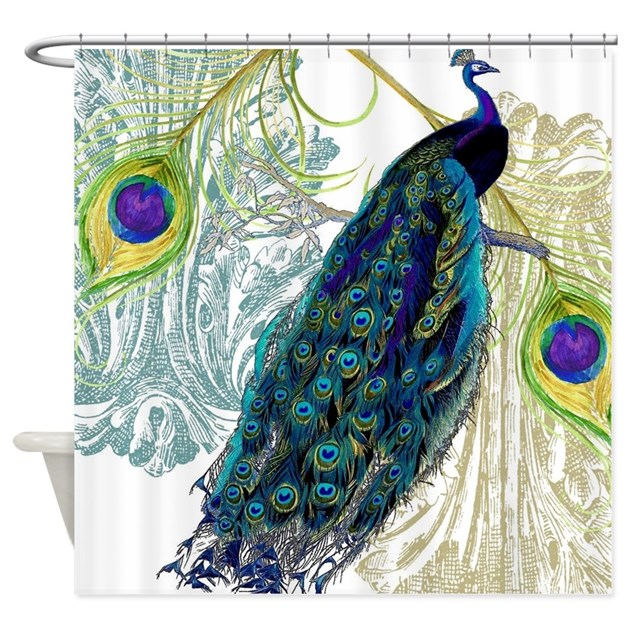 vintage peacock bird feathers etchi shower curtain by admin
