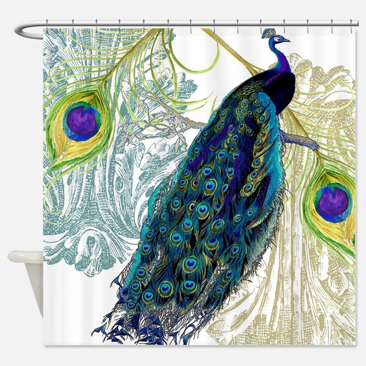 Vintage Peacock Shower Curtains Vintage Peacock Fabric
