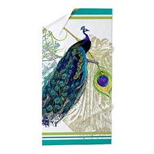 Vintage Peacock Bird Feathers Etchings Beach Towel