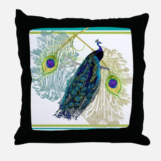 Vintage Peacock Bird Feathers Etching Throw Pillow