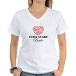 Coast Guard Bride Pink Camo Women's V-Neck T-Shirt