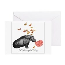 A Beautiful Day With Hippopotamus Greeting Cards