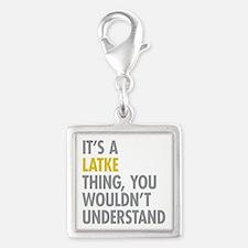 Its A Latke Thing Silver Square Charm