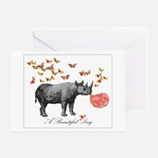 A Beautiful With Rhinocerous Greeting Cards