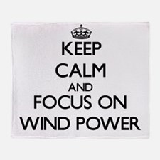 Keep Calm by focusing on Wind Power Throw Blanket