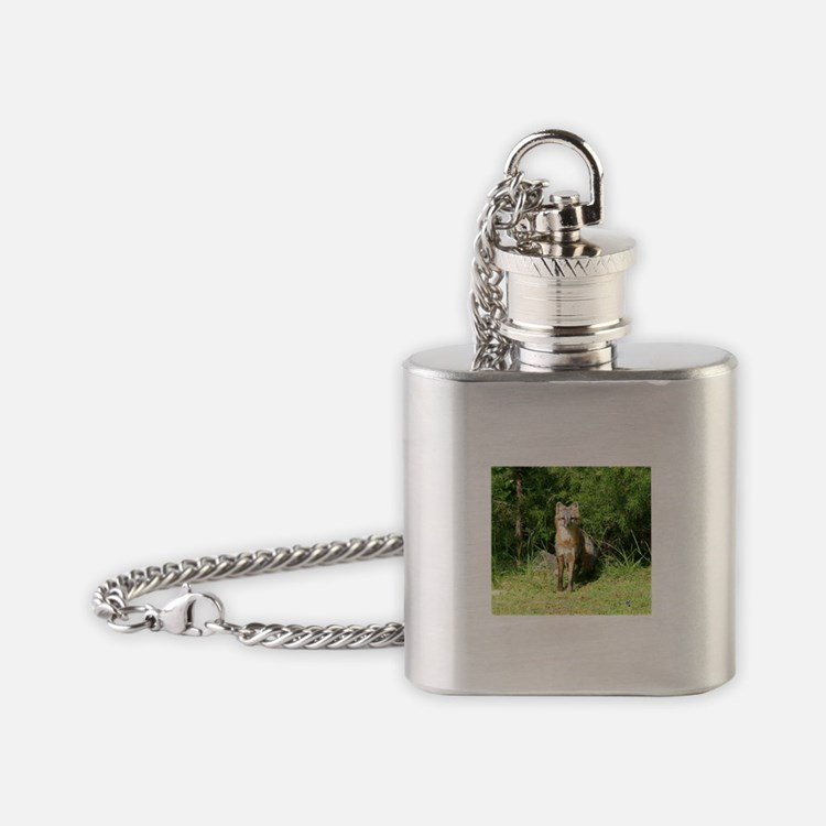 FOX LOOKING AT YOU Flask Necklace