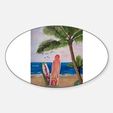 Caribbean beach with Surf Boards Decal