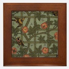 Vintage Floral Rose Wallpaper Pattern Birds Framed