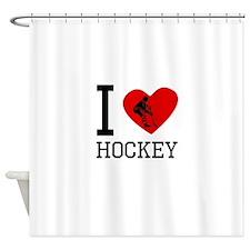 I Heart Hockey Shower Curtain