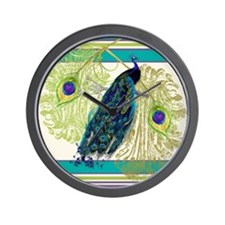 Vintage Peacock Bird Feathers Etchings Wall Clock