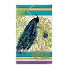 Vintage Peacock Bird Feathers Etchi 3'x5' Area Rug