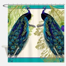 Vintage Peacock Bird Feathers Etchi Shower Curtain