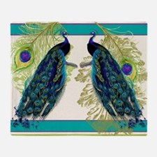 Vintage Peacock Bird Feathers Etchin Throw Blanket