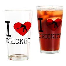 I Heart Cricket Drinking Glass