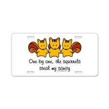 One by One The Squirrels Aluminum License Plate