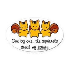 One by One The Squirrels Oval Car Magnet