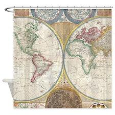 1794 Samuel Dunn Vintage World Map Shower Curtain