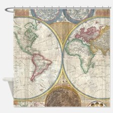 1794 Samuel Dunn Vintage World Map Shower Curtain