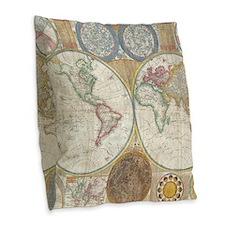 1794 Samuel Dunn Vintage World Burlap Throw Pillow
