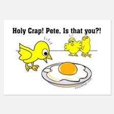 Holy Crap Pete Chick Egg Cartoon Invitations