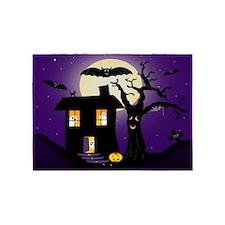 Halloween Pumpkin Haunted House 5'x7'Area Rug