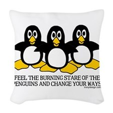 Burning Stare Penguins Woven Throw Pillow