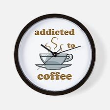 Addicted To Coffee Wall Clock