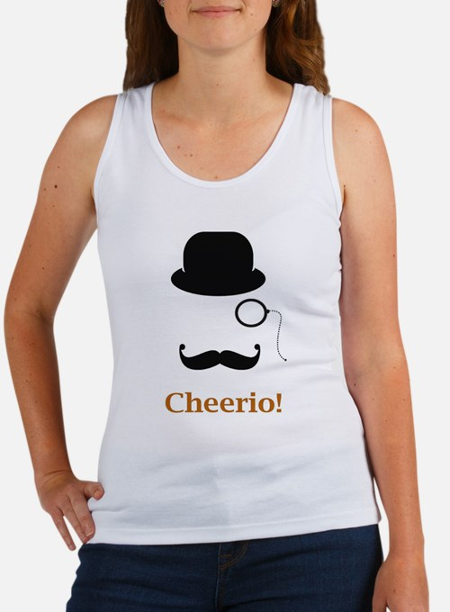 Hat Monocle Mustache Face With Cheerio Tank Top