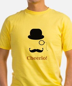 Hat Monocle Mustache Face With Cheerio T-Shirt