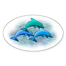 Jumping dolphins Oval Decal
