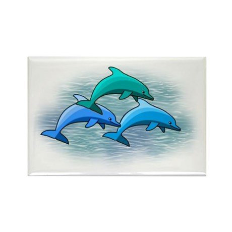 Jumping dolphins Rectangle Magnet (100 pack)