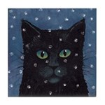 Black Cat in Snow Art Tile