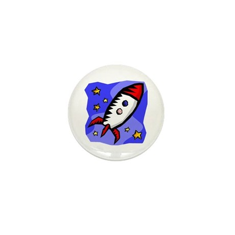 Cartoon Spaceship Mini Button
