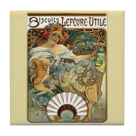 Alphonse Mucha Art Tile Biscuits Lefeure-Utile
