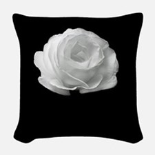 BLACK AND WHITE ROSE FLOWER Woven Throw Pillow