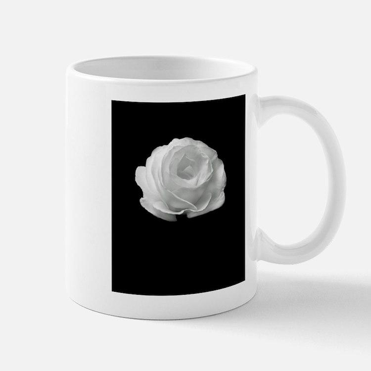 BLACK AND WHITE ROSE FLOWER Mugs