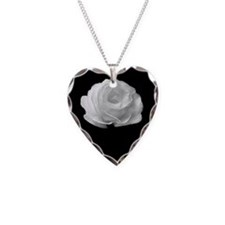 BLACK AND WHITE ROSE FLOWER Necklace