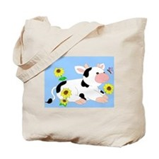 Mooing in the Sunflowers Tote Bag