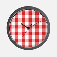 Simple White Red Gingham Pattern Wall Clock