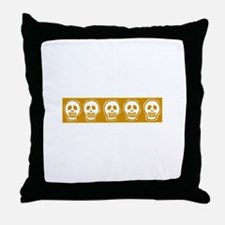 Skull on yellow background Throw Pillow