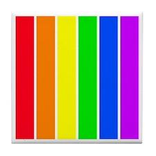 Rainbow Stripes Tile Coaster